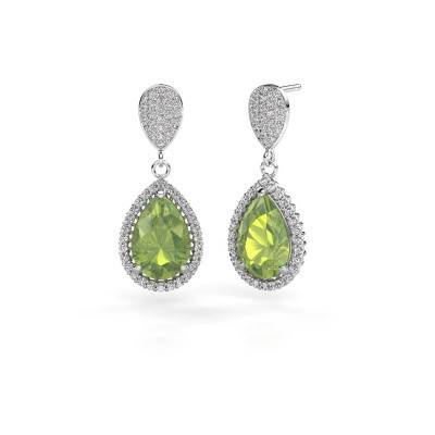 Drop earrings Tilly per 2 585 white gold peridot 12x8 mm