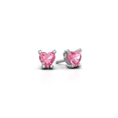 Foto van Oorbellen Sam Heart 950 platina roze saffier 5 mm