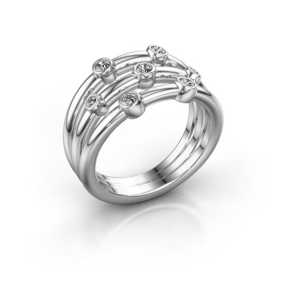 Bague Chloe 585 or blanc diamant synthétique 0.18 crt