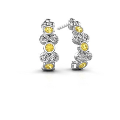 Earrings Kayleigh 585 white gold yellow sapphire 2.4 mm