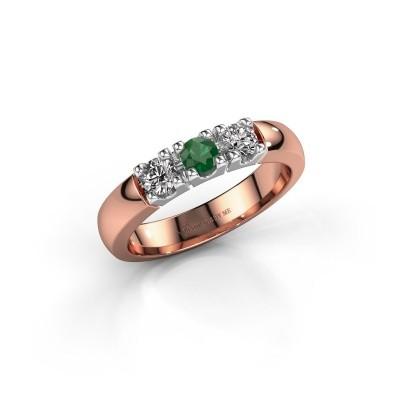 Bild von Verlobungsring Rianne 3 585 Roségold Smaragd 3.4 mm