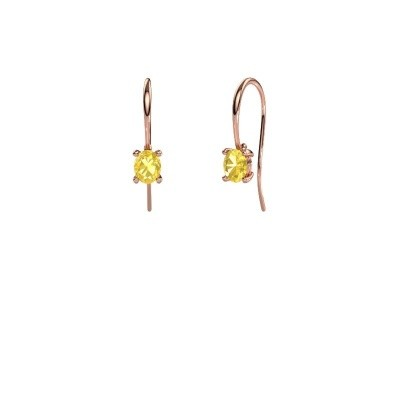 Drop earrings Cleo 375 rose gold yellow sapphire 6x4 mm