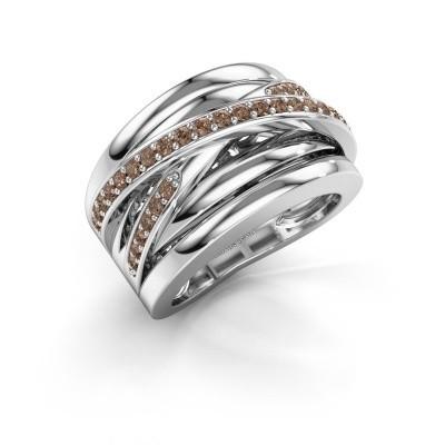 Foto van Ring Clair 3 585 witgoud bruine diamant 0.495 crt