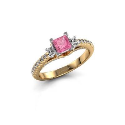 Verlovingsring Valentina 585 goud roze saffier 4.25 mm