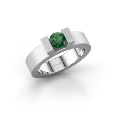 Foto van Ring Leena 1 585 witgoud smaragd 5 mm