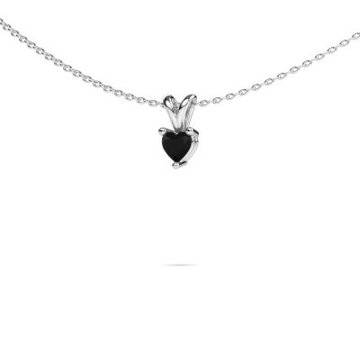 Foto van Ketting Garnet 375 witgoud zwarte diamant 0.30 crt