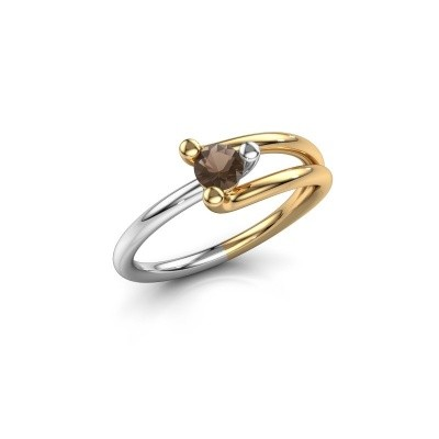 Engagement ring Roosmarijn 585 gold smokey quartz 4 mm