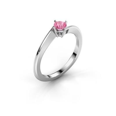 Foto van Verlovingsring Ingrid 950 platina roze saffier 4 mm