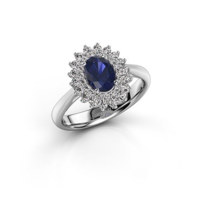 Engagement ring Alina 1 585 white gold sapphire 7x5 mm