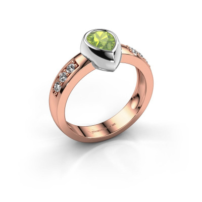 Ring Charlotte Pear 585 rose gold peridot 8x5 mm