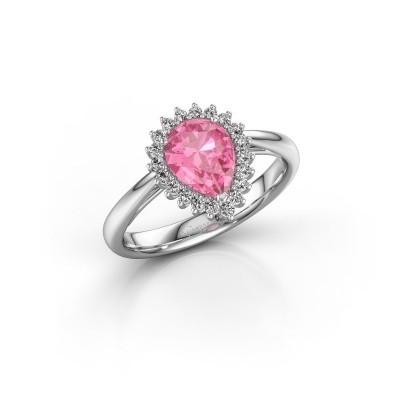 Foto van Verlovingsring Chere 1 585 witgoud roze saffier 8x6 mm