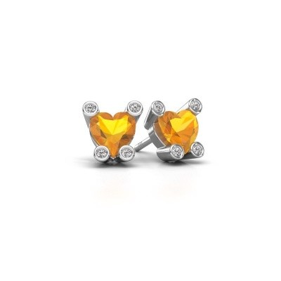 Picture of Stud earrings Cornelia Heart 925 silver citrin 6 mm