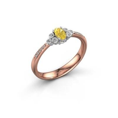 Verlovingsring Lucy 2 585 rosé goud gele saffier 7x5 mm
