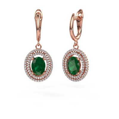Picture of Drop earrings Karren 375 rose gold emerald 8x6 mm