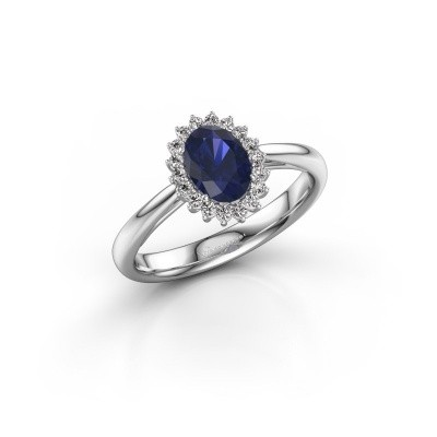 Picture of Engagement ring Tilly ovl 1 585 white gold sapphire 7x5 mm