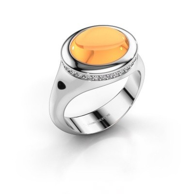 Foto van Ring Lesli ovl 375 witgoud citrien 12x10 mm
