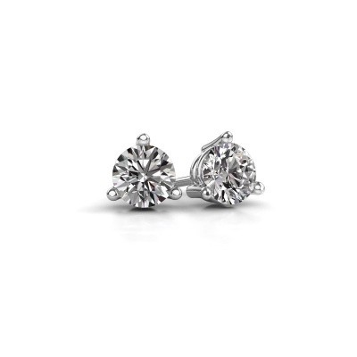 Photo de Clous d'oreilles Somer 585 or blanc diamant 0.10 crt