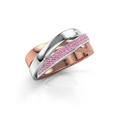 Foto van Ring Katherina 585 rosé goud roze saffier 1 mm