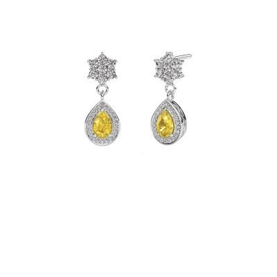 Drop earrings Era 950 platinum yellow sapphire 6x4 mm