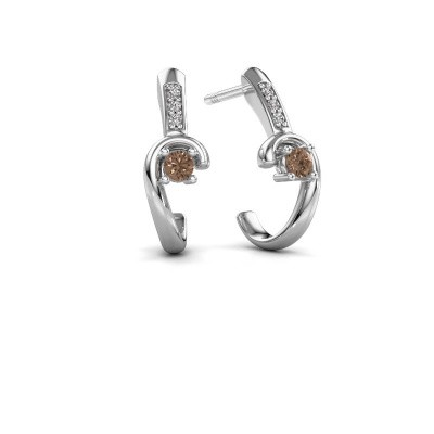 Earrings Ceylin 950 platinum brown diamond 0.16 crt