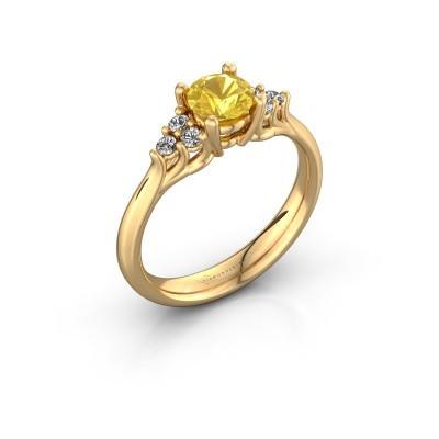 Foto van Verlovingsring Monika RND 375 goud gele saffier 5.5 mm