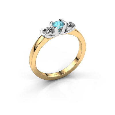Ring Lucia 585 gold blue topaz 3.7 mm