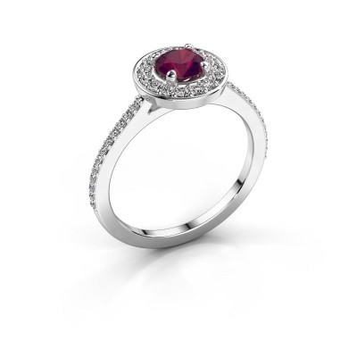 Ring Agaat 2 925 silver rhodolite 5 mm