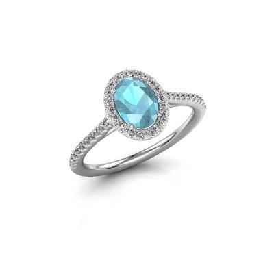 Engagement ring Seline 2 950 platinum blue topaz 7x5 mm