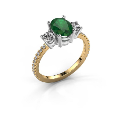 Verlobungsring Emelda 585 Gold Smaragd 8x6 mm
