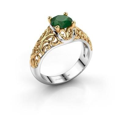 Foto van Ring Mirte 585 witgoud smaragd 6.5 mm