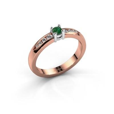 Verlovingsring Zohra 585 rosé goud smaragd 3 mm
