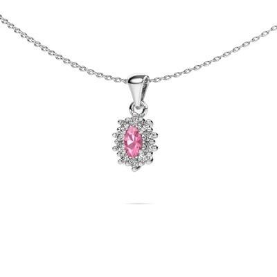 Foto van Ketting Leesa 925 zilver roze saffier 7x5 mm