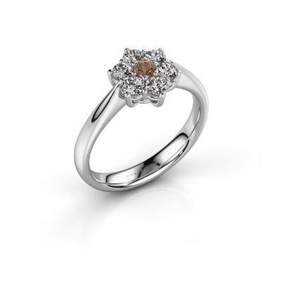 Promise ring Chantal 1 585 witgoud bruine diamant 0.08 crt