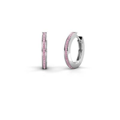 Creolen Renee 4 12 mm 925 zilver roze saffier 1 mm