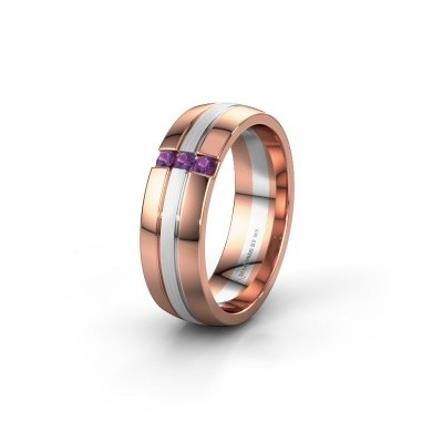 Wedding ring WH0426L26A 585 rose gold amethyst ±6x1.7 mm