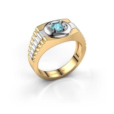 Foto van Rolex stijl ring Edward 585 goud blauw topaas 4.7 mm