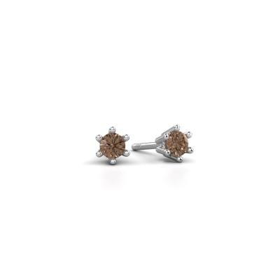 Oorbellen Fay 950 platina bruine diamant 0.15 crt