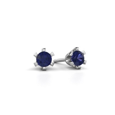 Picture of Stud earrings Shana 925 silver sapphire 4 mm