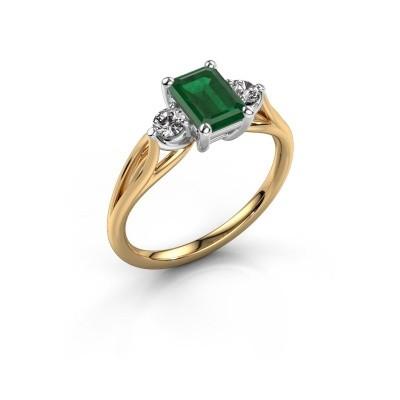 Verlovingsring Amie EME 585 goud smaragd 7x5 mm