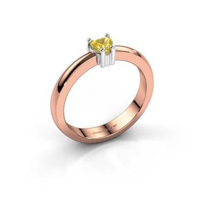 Foto van Aanzoeksring Florentina heart 585 rosé goud gele saffier 4 mm