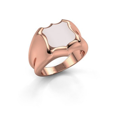 Signet ring Nevin 375 rose gold red sardonyx 12x12 mm