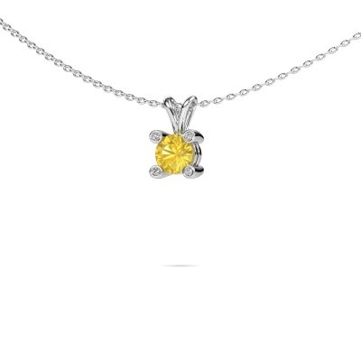 Photo de Pendentif Fleur 375 or blanc saphir jaune 5 mm