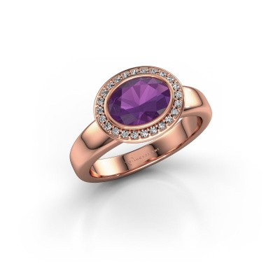 Picture of Ring Salena 375 rose gold amethyst 8x6 mm