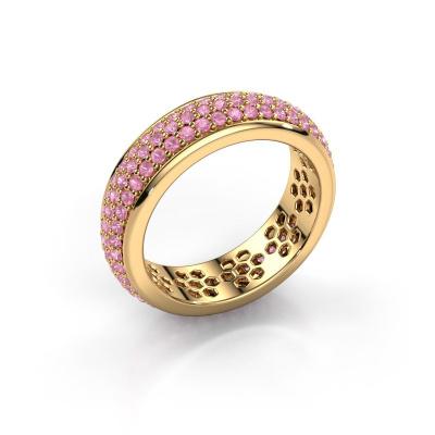 Ring Tara 585 gold pink sapphire 1.3 mm
