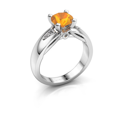 Engagement ring Ize 925 silver citrin 6.5 mm