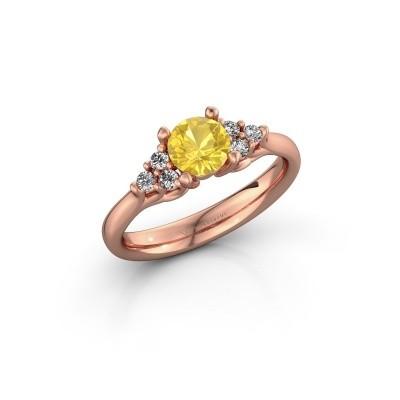 Foto van Verlovingsring Monika RND 375 rosé goud gele saffier 5.5 mm