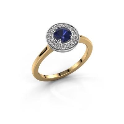Ring Agaat 1 585 goud saffier 5 mm