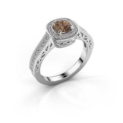 Verlovings ring Candi 950 platina bruine diamant 0.775 crt