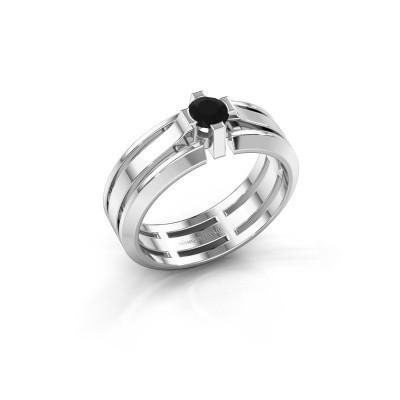 Heren ring Sem 950 platina zwarte diamant 0.48 crt