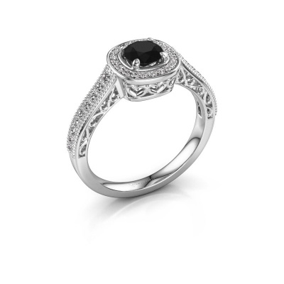 Verlovings ring Candi 585 witgoud zwarte diamant 0.875 crt